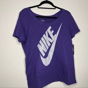 Nike purple t-shirt with gray and white logo.